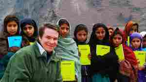 Greg Mortenson, author of Three Cups of Tea and Stone Into Schools, with schoolchildren in Azad Kashmir, Pakistan.