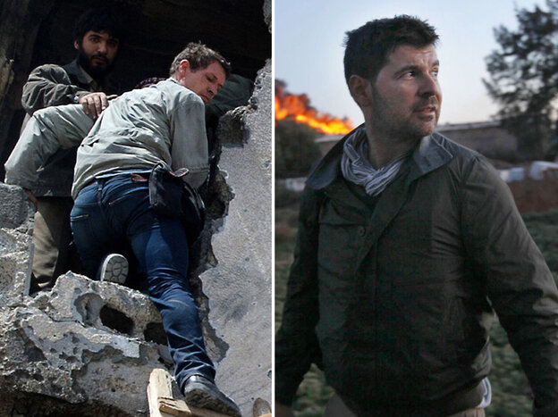 Photo combination: photographer Tim Hetherington (L) climbing from a building in Misrata, Libya, on Wednesday, and American photographer Chris Hondros in Misrata on Monday.