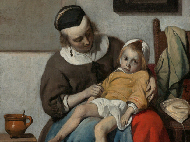 Metsu was a storyteller — though a mysterious one. His canvasses tell a  story, but it's not always clear what the narrative is. Above, <em>The Sick Child, </em>1664.