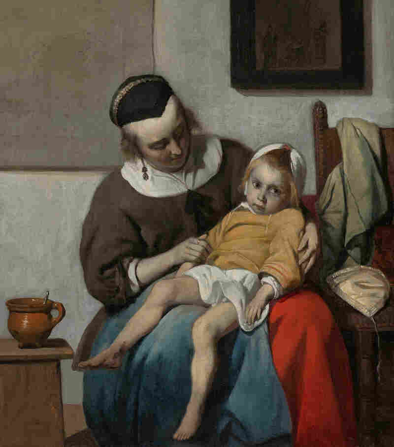 Metsu was a storyteller — though a mysterious one. His canvasses tell a  story, but it's not always clear what the narrative is. Above, The Sick Child, 1664.