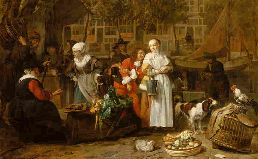 Gabriel Metsu's early works depict rustic or biblical scenes created in his hometown, Leiden. Once he moved to Amsterdam, he depicted more cosmopolitan scenes to meet the tastes of the city's sophisticated art market. Above, Vegetable Market in Amsterdam (circa 1657-1661). Click here to see the full painting.