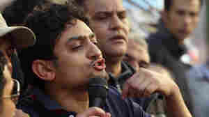 Wael Ghonim addressing protesters in Cairo's Tahrir Square on Feb. 8, 2011.
