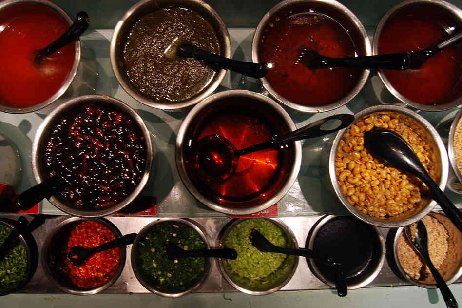The sauce bar at Haidilao Hot Pot restaurant in Beijing. Customers who eat at the restaurant can choose from nearly 30 different sauces and fixings.
