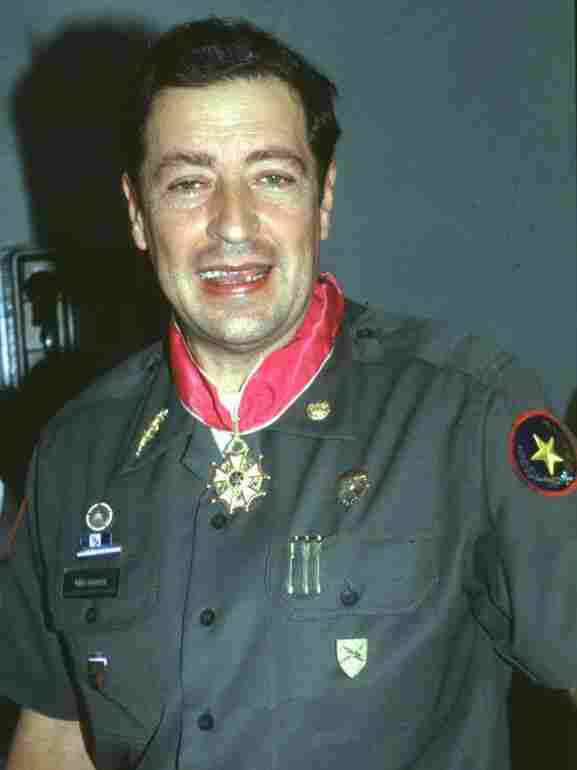Former Salvadoran Minister of Defense Eugenio Vides Casanova is shown after receiving a medal, in a photo dated Dec. 12, 1988.