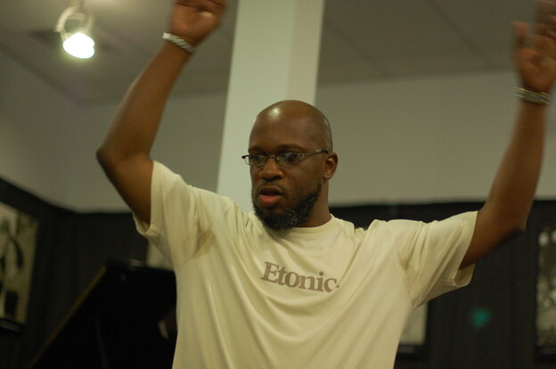 Orrin Evans conducts the Captain Black Big Band at WBGO in Newark, N.J.