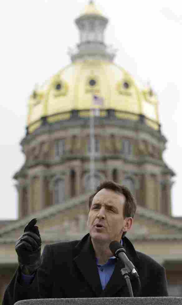 Former Minnesota Gov. Tim Pawlenty addresses a Tea Party rally at the Iowa State House on April 16. He's spending a lot of time in the state that neighbors his, site of crucial early contests in the 2012 race for the GOP presidential nomination.