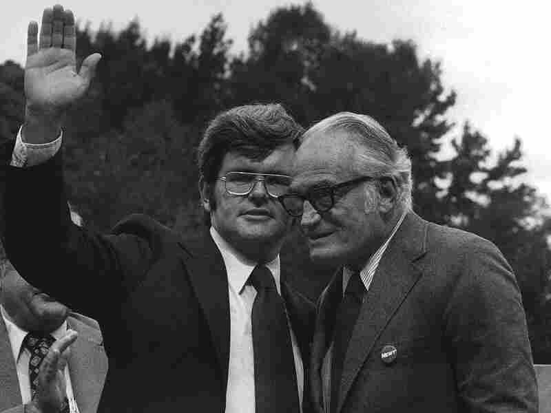 Gingrich (left, then a congressional candidate) waves to an East Point, Ga., crowd in 1976. He's joined by Sen. Barry Goldwater, who campaigned for him.