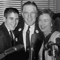 George Romney with his wife, Lenore, and teenage son Mitt, after announcing he would seek the Republican nomination for governor of Michigan at a press conference in 1962.