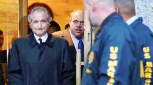 Bernie Madoff leaving U.S. District Court in Manhattan after a bail hearing in New York, Monday, Jan. 5, 2009. The former executive chairman of NASDAQ was sentenced to 150 years in prison in 2009 for his role in a massive Ponzi scheme.