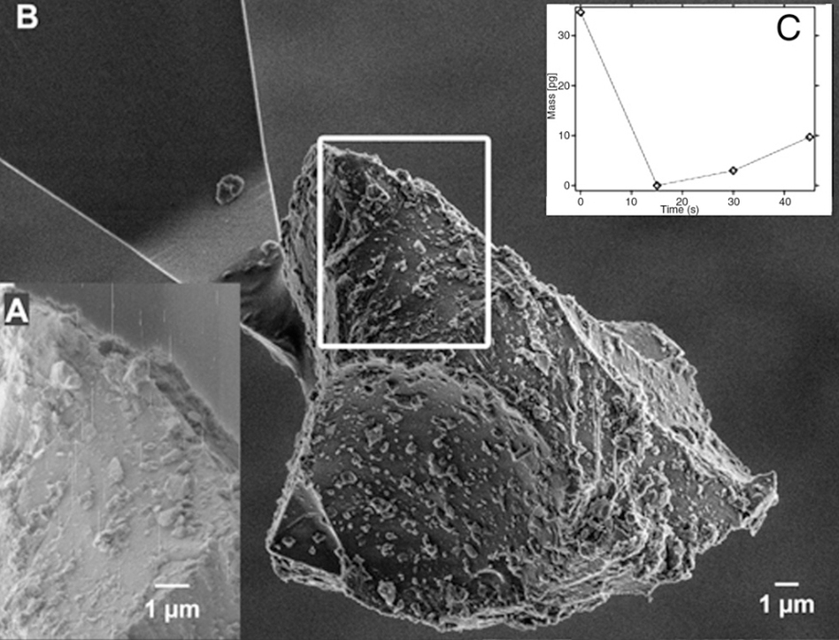 A microscope image of an ash particle ejected from the Icelandic volcano showed that the particles were especially hard and sharp, as compared with normal ash.