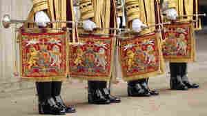 Pomp and circumstance, for sure: Trumpeters from the Royal Cavalry prepare for the big day.