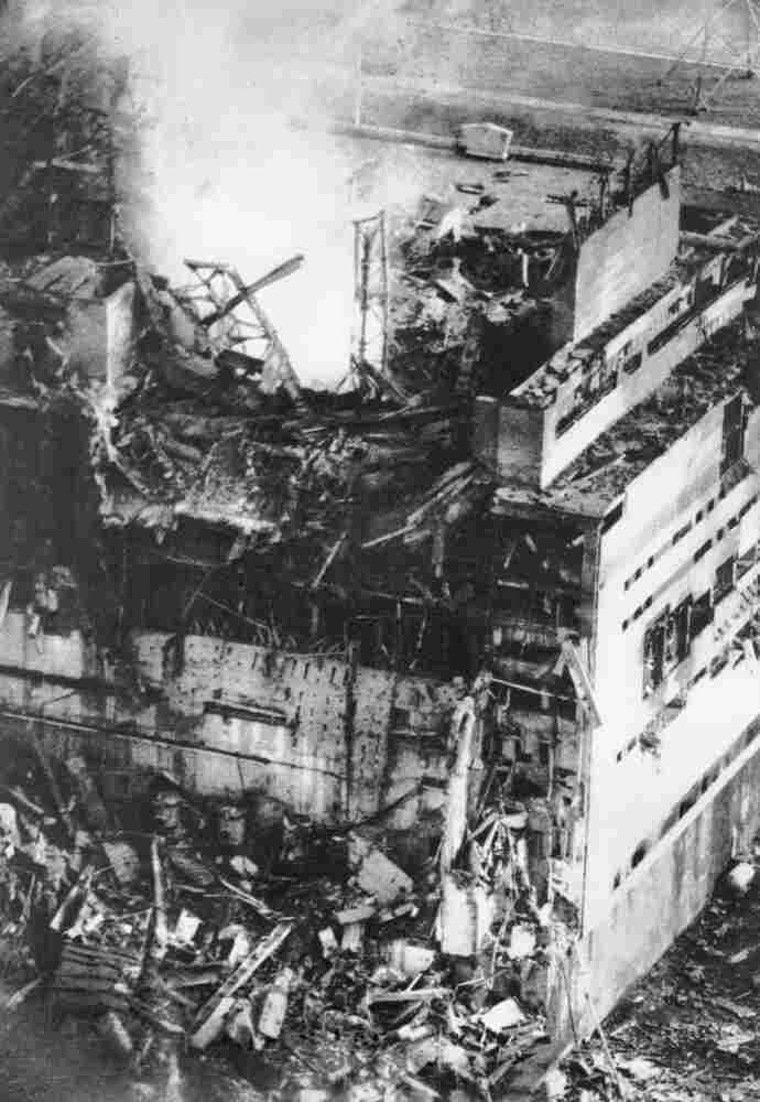 The destroyed Chernobyl nuclear power plant, shown just hours after the April 26, 1986, explosion.
