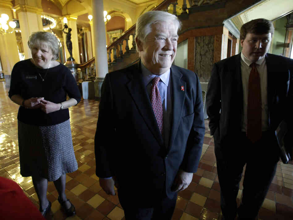 Mississippi Gov. Haley Barbour walks through the Iowa Statehouse before speaking to the Iowa Federation of Republican Woman March 15, in Des Moines, Iowa.