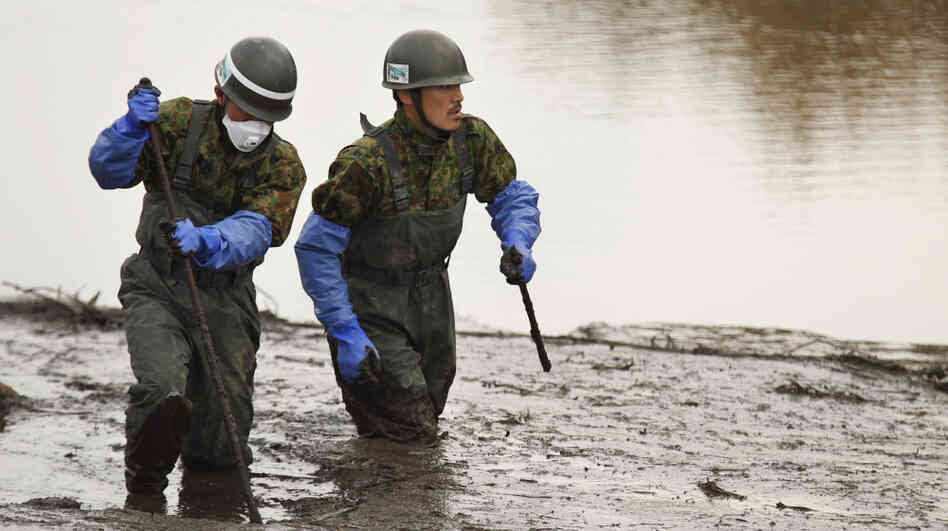 Japan Ground Self-Defense Force members search for missing people in their third major recovery operation since the March 11 earthquake.