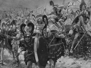 Greek warriors advancing on Persian troops at the Battle of Marathon in 490 B.C., depicted in a painting by Georges Antoine Rochegrosse.