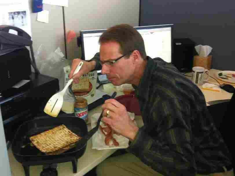 Until this sandwich, we didn't know Robert had a grill at his desk.
