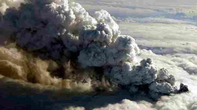 An ash plume rises from the Icelandic volcano Eyjafjallajokull on April 14, 2010.