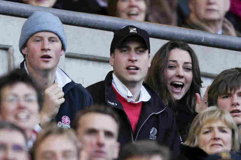 Prince Harry (from left), Prince William (center) and Middleton cheer on the English rugby team during the RBS Six Nations Championship match between England and Italy at Twickenham in London in 2007. The couple were rumored to have split in April 2007; however, Middleton continued to make appearances as Prince William's guest at royal functions.