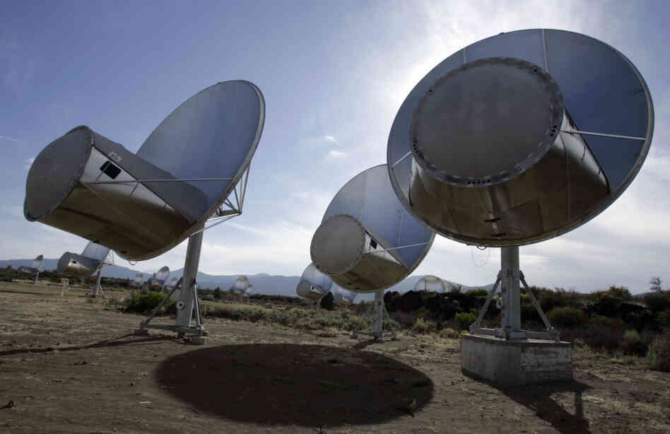 Radio telescopes of the Allen Telescope Array are seen in Hat Creek, Calif.