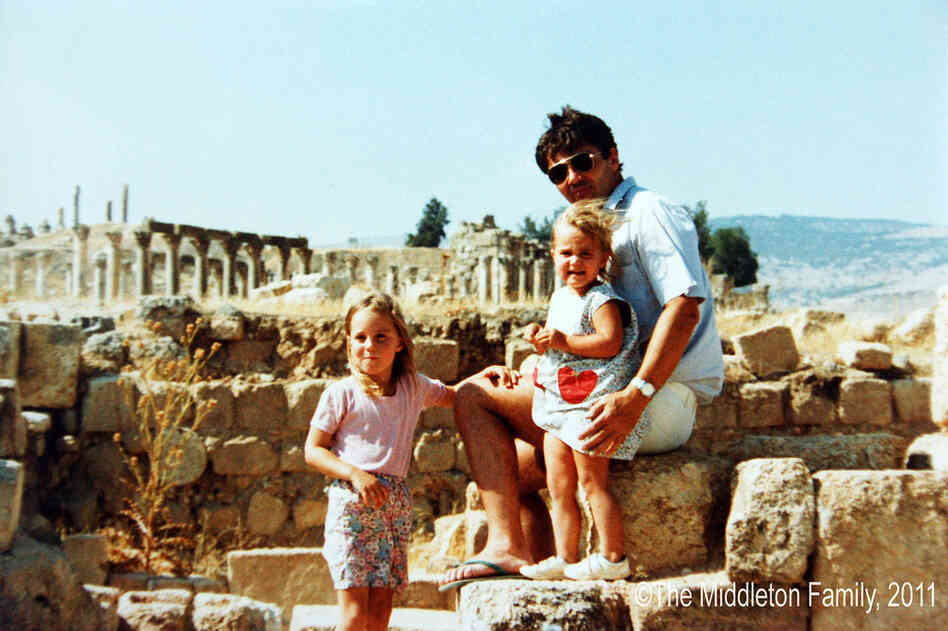 Kate Middleton at age 4 (left) with her father and sister Pippa in Jerash, Jordan. The eldest of three siblings, Kate is the daughter of Carole, a flight attendant, and Michael Middleton, a flight dispatcher for British Airways.