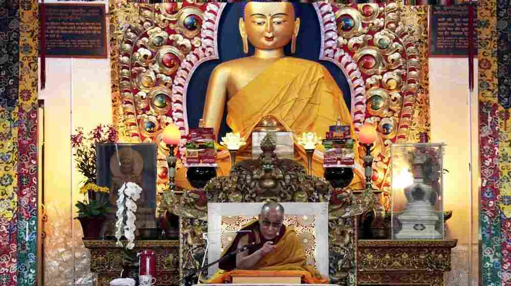 The Dalai Lama gives a religious talk at the Tsuglakhang temple in Dharmsala, India, on March 15.