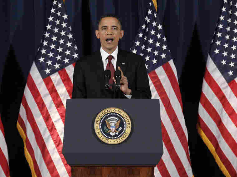 President Obama delivers his address on Libya at the National Defense University in Washington on March 28, 2011.