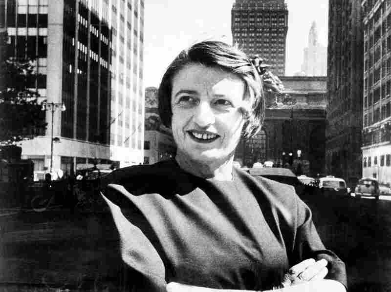Russian-born American novelist Ayn Rand poses in front of Grand Central Terminal, or Atlas Shrugged's Taggart Terminal, in 1962.