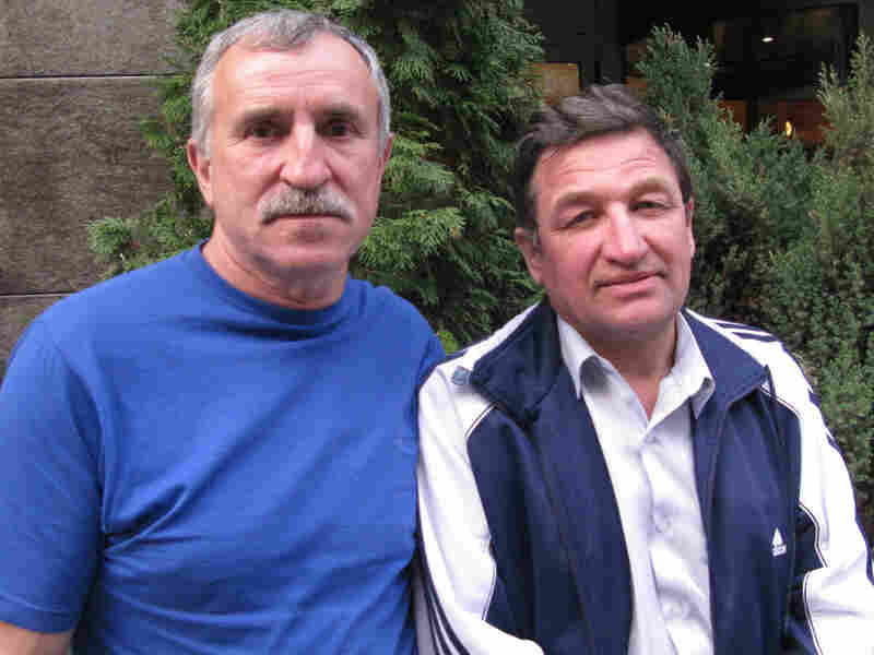 """Anatoly Kotlyar (left), 59, and Alexander Zenchenko, 58, are two of the thousands of """"liquidators,"""" or firefighters, who responded to the 1986 Chernobyl disaster. The Soviet government ordered them to the nuclear facility as first responders. Both men today complain of health problems and say Ukraine's government should be doing more to help with medical bills."""