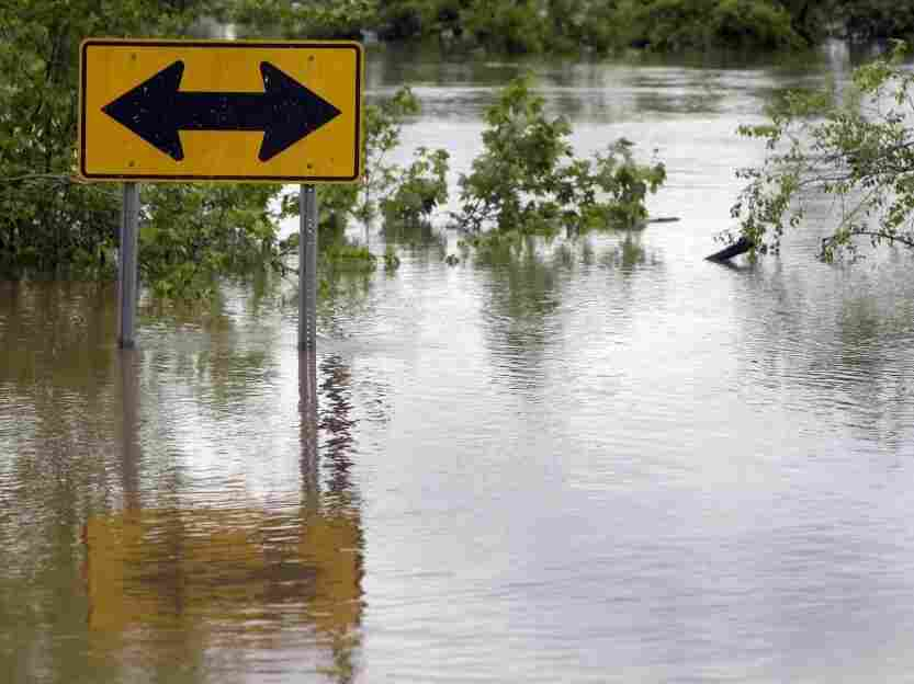 Floodwaters from the Black River surrounded a street sign earlier today (April 26, 2011) in Poplar Bluff, Mo.