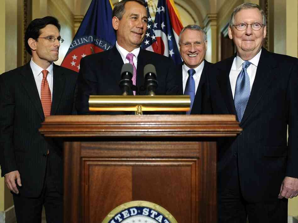 House Speaker John Boehner (R-OH), House Majority Leader Eric Cantor (R-VA), U.S. Sen. Jon Kyl (R-AZ) and Senate Minority Leader Mitch McConnell (R-KY) speak to reporters about meeting with U.S. President Barack Obama over the deficit debate. The U.S. is expected to reach the debt ceiling in mid-May.