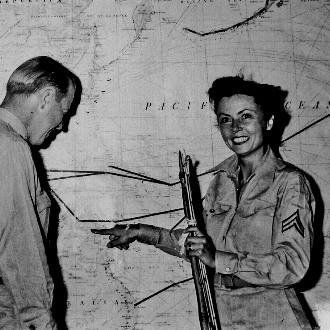 "Cpl. Margaret Hastings (right), the lone female survivor, was a media favorite. At a press conference after the rescue she quipped, ""I'd like a shower and a permanent."""