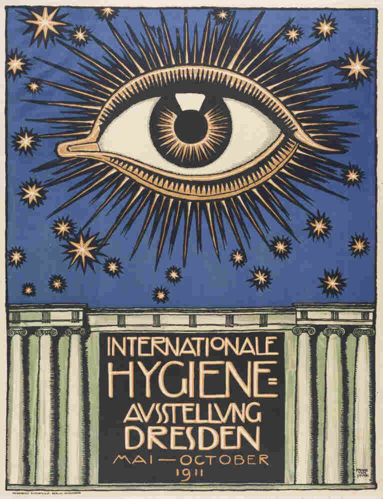 The first International Hygiene Exhibition was held at the Hygiene Museum in Dresden. One of the principal sponsors of the event had a strange dream about a giant eye, and the poster was based on this image.