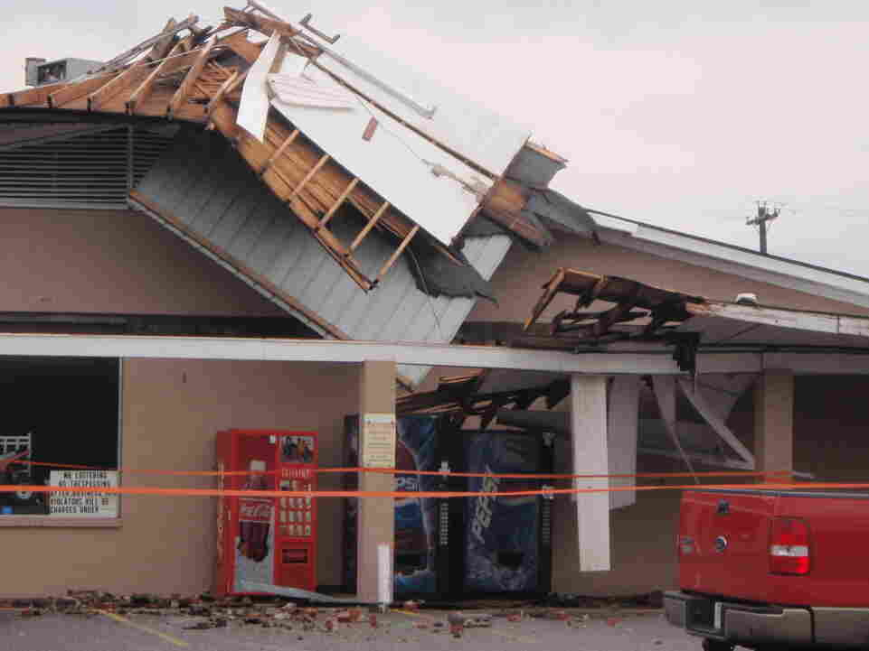 Damage to a gas station in Murray, Ky. The photo was taken this morning (April 26, 2011).