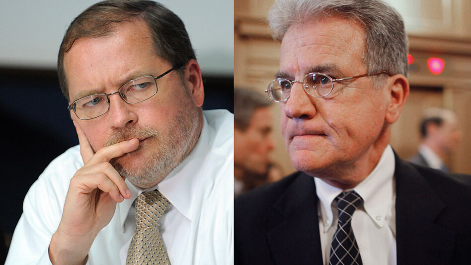 Grover Norquist (left), of the anti-tax lobbying group Americans for Tax Reform, and Sen. Tom Coburn (R-OK, right) have been in an unusually public spat. Coburn, who seven years ago signed Norquist's so-called Taxpayer Protection Pledge, now says a solution to the deficit could involve an increase in tax revenues.<strong></strong>