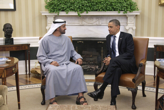 President Obama with Sheikh Mohammed bin Zayed Al Nahyan of the United Arab Emirates, Tuesday, April 26, 2011.