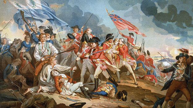 British forces clash with colonial militia during the Battle of Bunker Hill in 1775, as depicted in an illustration.