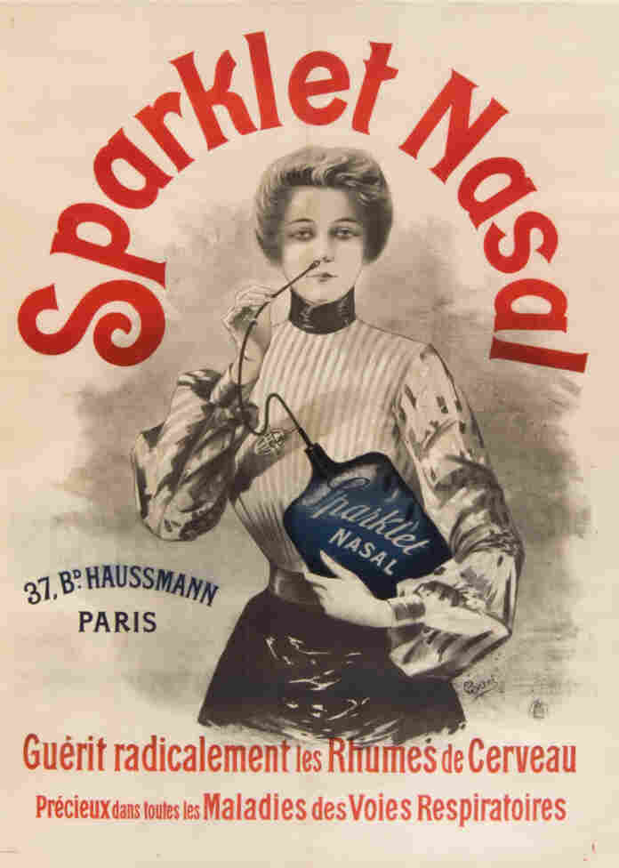 """Sparklet Nasal """"completely cures head colds"""" and is """"invaluable for all ailments of the respiratory passages.""""  All you have to do is stick something in your nose. (French, c. 1900-1905)"""