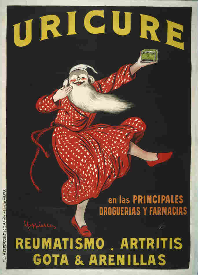 Published around 1910, this Spanish print advertised a medicine used to reduce the intense pain of gout.
