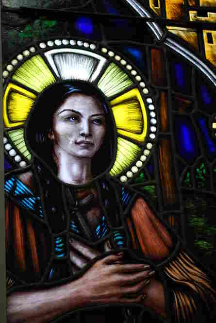 Kateri Tekakwitha (1656-1680): The first North American Indian proposed for sainthood was beatified in 1980. Here, a stained glass window at the Holy Spirit Church in Atlanta, Ga., bears her image. Church officials have been investigating whether a boy's recovery from flesh-eating bacteria in Washington state in 2006 was a miracle attributable to Blessed Kateri.