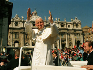 Pope John Paul II waves to the faithful during his general audience in St. Peter's Square on March 29, 1989. Archbishop Timothy Dolan says &q