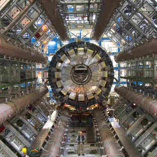 A view of the ATLAS detector at the Large Hadron Collider. For scale, note the workers toward the bottom of the image.