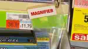In many of its stores nationwide, CVS has installed fine-print magnifiers like this one to aid elderly shoppers.