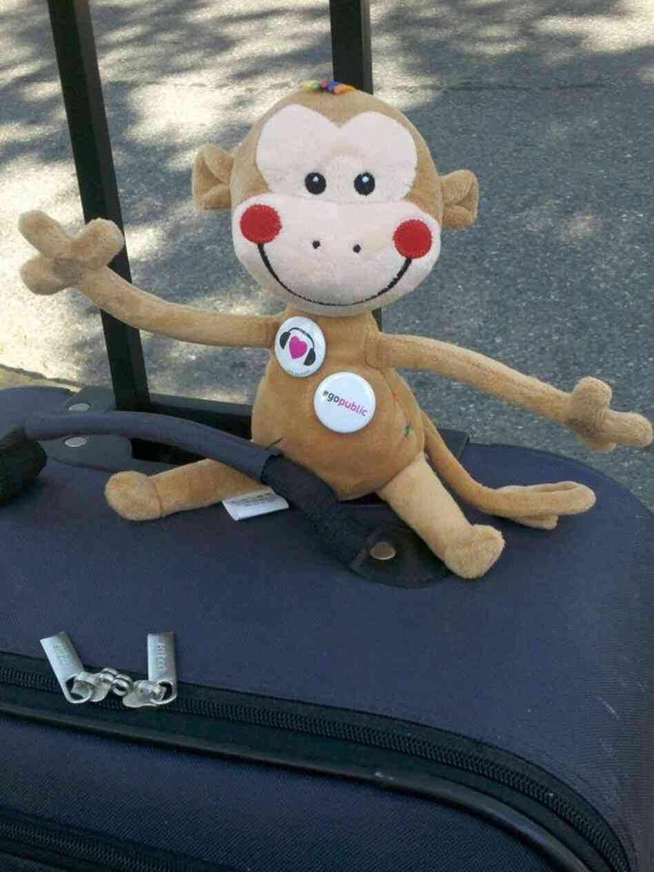Monkey on the move: As you will know if you follow @nprmonkeysee on Twitter, Linda Holmes is being accompanied on her London trip by a monkey whose name her editor has just realized he does not know. It is just possible that there will be photos of him at certain landmarks.
