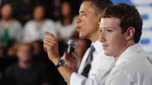 President Obama, with Facebook CEO Mark Zuckerberg, speaks during a town hall meeting April 20 at Facebook headquarters in Palo Alto, Calif.