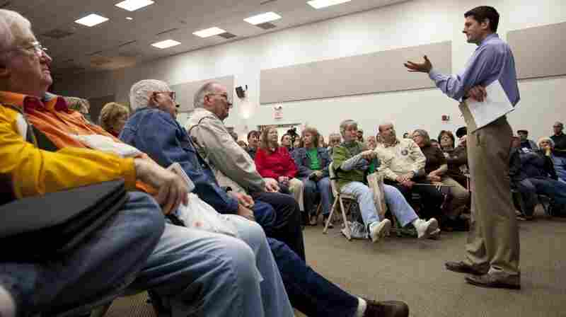Rep. Paul Ryan (R-WI) speaks during a public meeting Tuesday at Gateway Technical College in Kenosha, Wis. His plan to fundamentally restructure Medicare and cut social safety net programs like food stamps