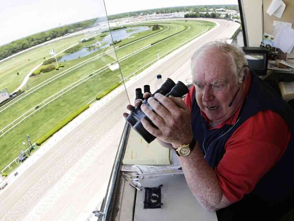 Announcer Tom Durkin at Belmont Park in Elmont, N.Y., in May 2008.