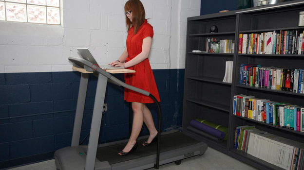 Treadmills desks can be built at home as long as you have a treadmill. (Wikimedia Commons via Flickr)