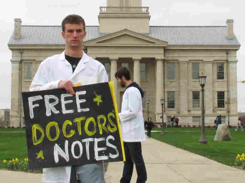 University of Iowa junior and College Republican Ryan Helgerson, dressed as a doctor and handed out fake sick notes to mock Wisconsin doctors, April 20, 2011.