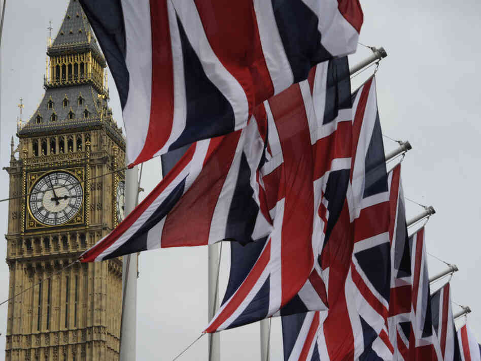 British Union Jack flags fluttered in the wind next