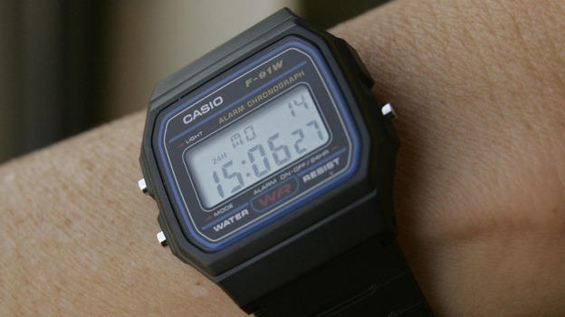 A Casio F-91W 1 casual sport watch. The U.S. government says this type of watch has been used in terrorist bombings. (AP)